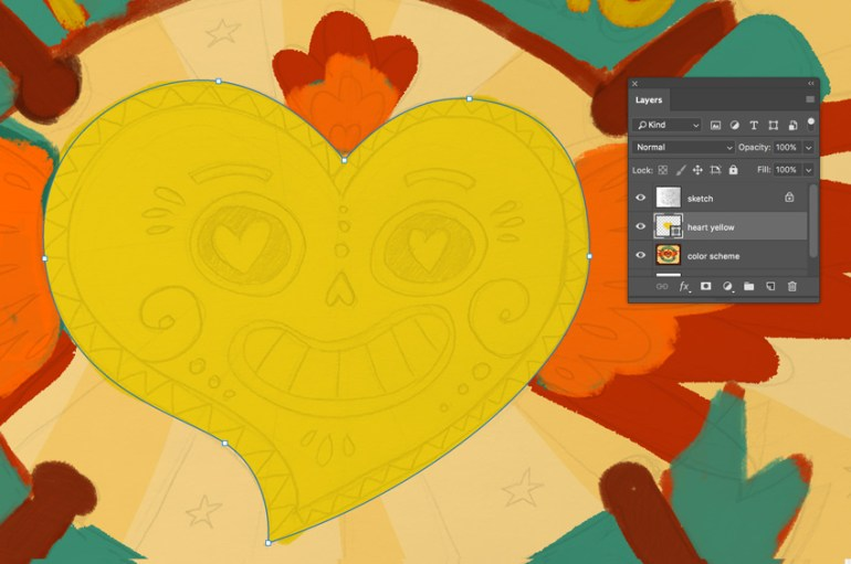 Draw the heart shape using the pen tool