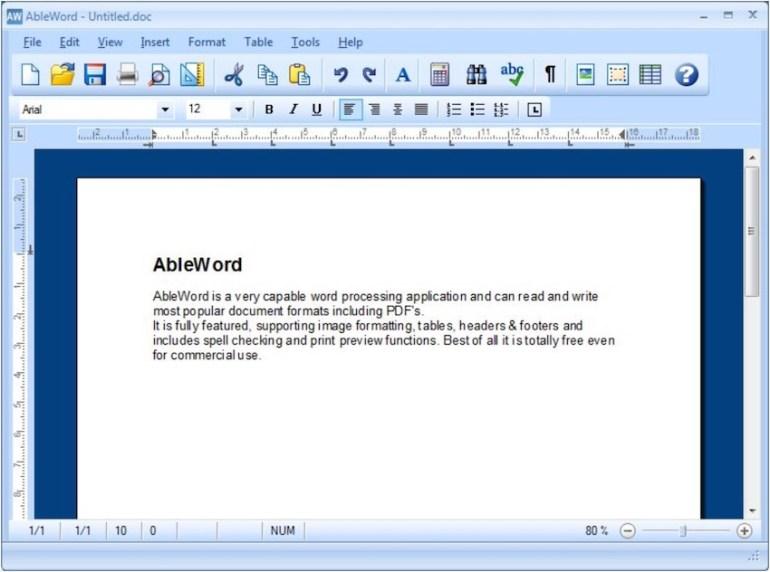 AbleWord free PDF editor software