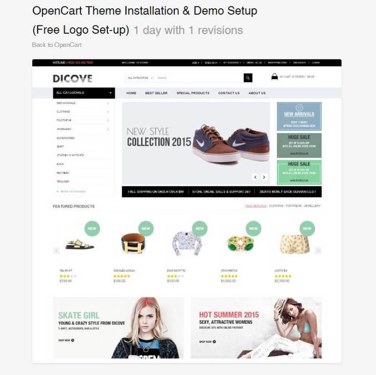 OpenCart Theme Installation  Demo Setup Free Logo Set-up by AslamHasib