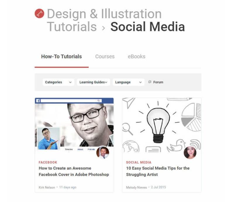 Free tutorials for Social Media design