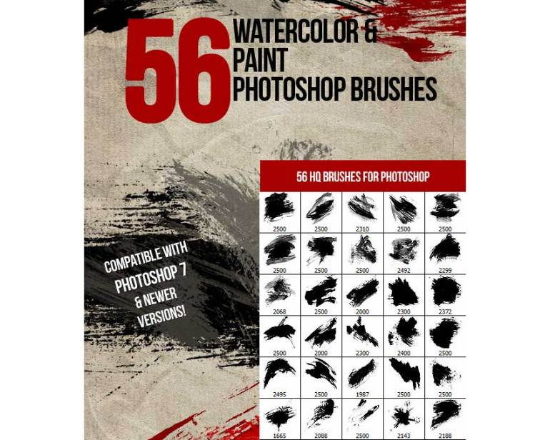 56 Watercolor  Paint Photoshop Brushes