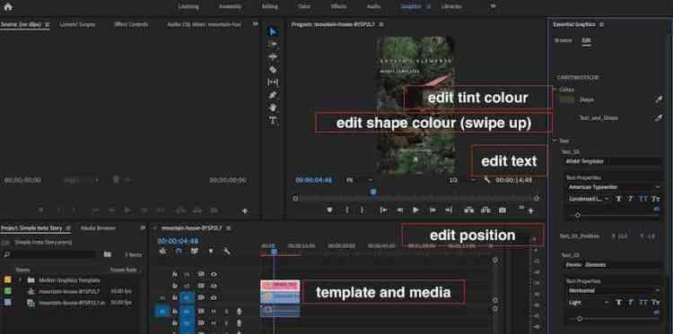 Premiere Pro workspace - making an instagram story
