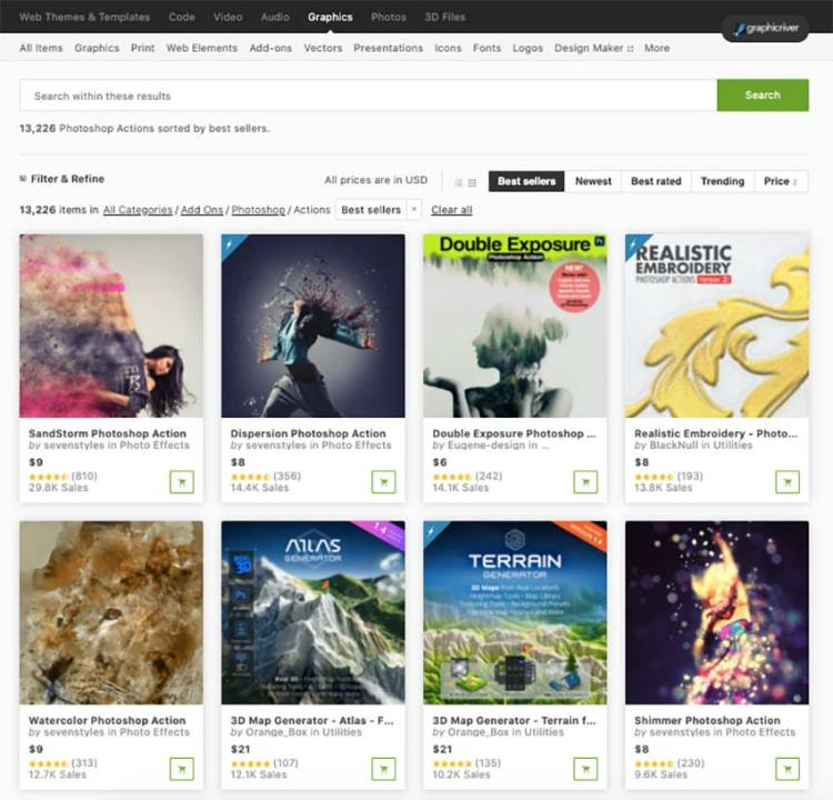 Thousands of Photoshop actions for photographers available on GraphicRiver