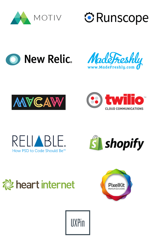 Logos of prize sponsors Motiv Runscope New Relic MadeFreshly Macaw Twilio Reliable Shopify Heart Internet PixelKit UXPin