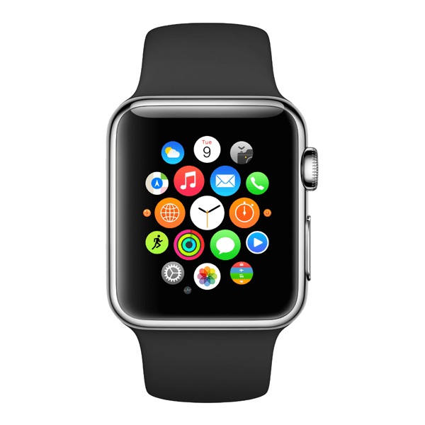 The already familiar Apple Watch homescreen