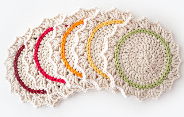 15 FREE Crochet Coaster Patterns. Compilation of various colorful and cute free crochet coaster patterns. Flowers, fruit, & traditional crocheted coasters