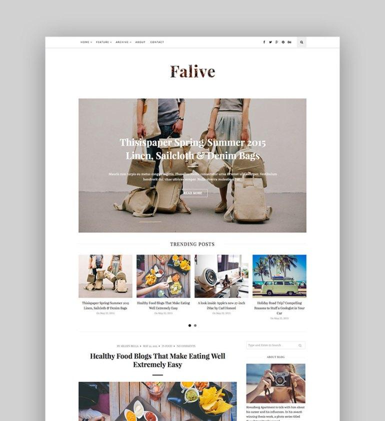 Falive - Beautiful Creative  Fashion Blog Theme