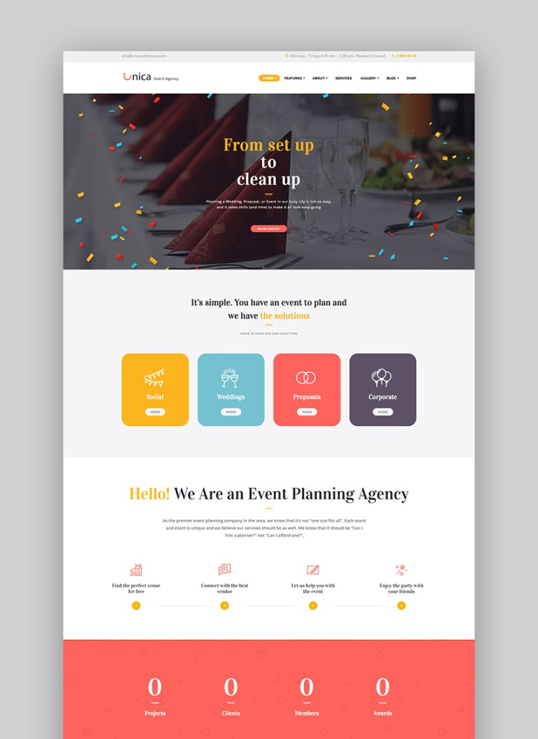 Unica - Event Planning Agency Theme