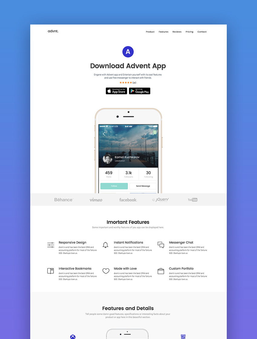 Advent Multipurpose Landing Page Template