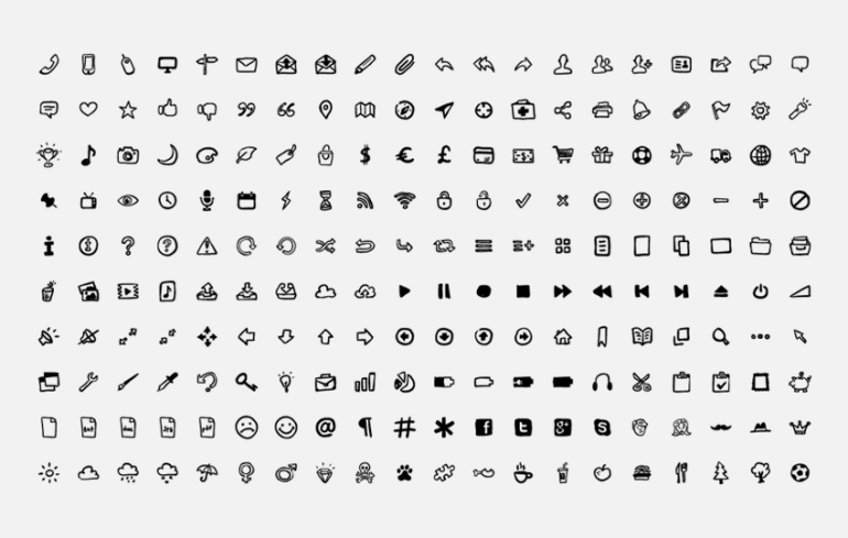 200 hand-drawn vector icons