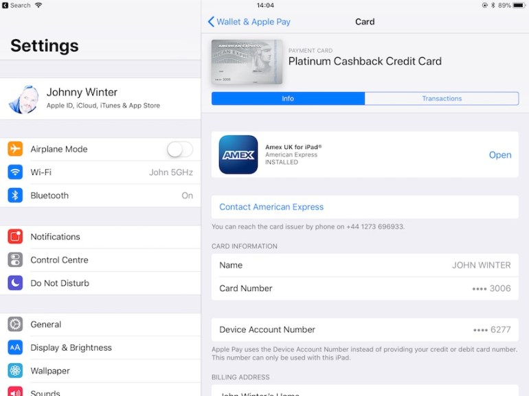 Ensure that your credit card is added to Apple Pay