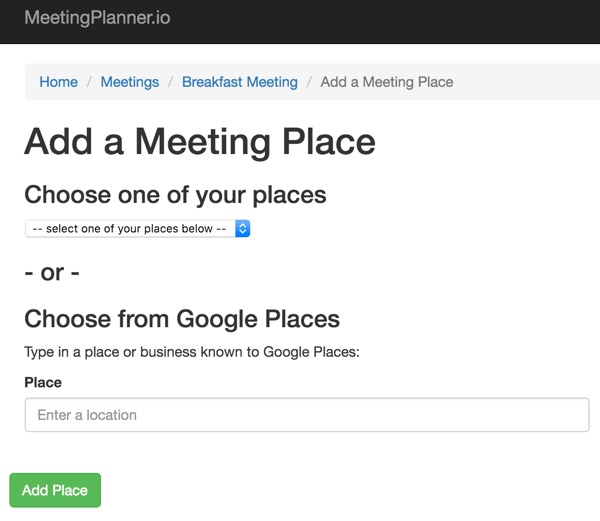 Meeting Planner Email Commands - Add a Meeting Place