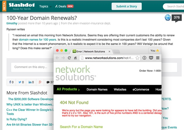 Slashdot 100 year Domain Renewals from network solutions