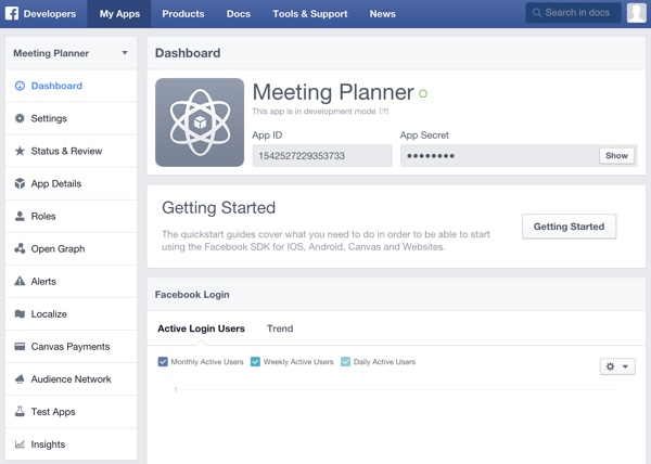 Building Your Startup OAuth - Facebook Dev Console Finished App Page
