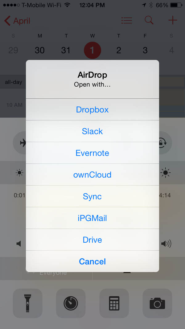 iPGMail AirDrop Receipt of Private Key on iPhone