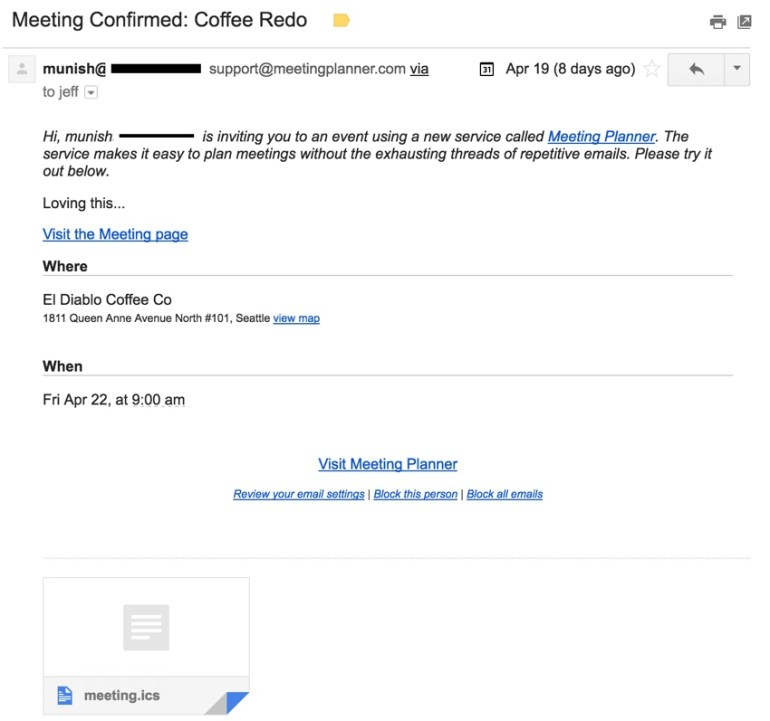 Building a Startup iCal Files - Gmail Invitation