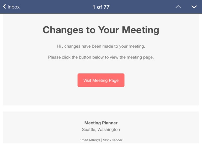 Meeting Planner Notifications - The Initial Notification Email Template