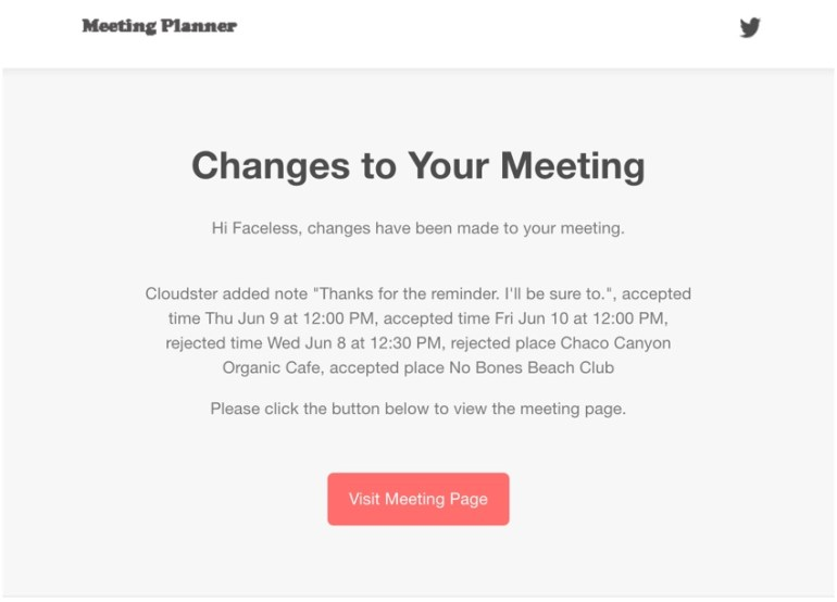 Meeting Planner Notifications - The Final Email Notification with Text Summary