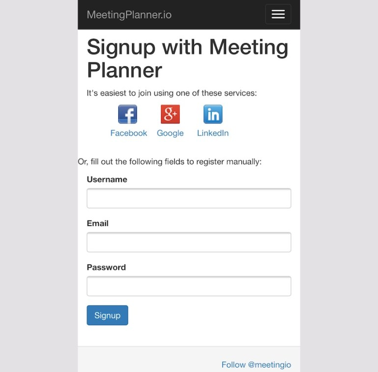 Meeting Planner Responsive Web - Signup Page