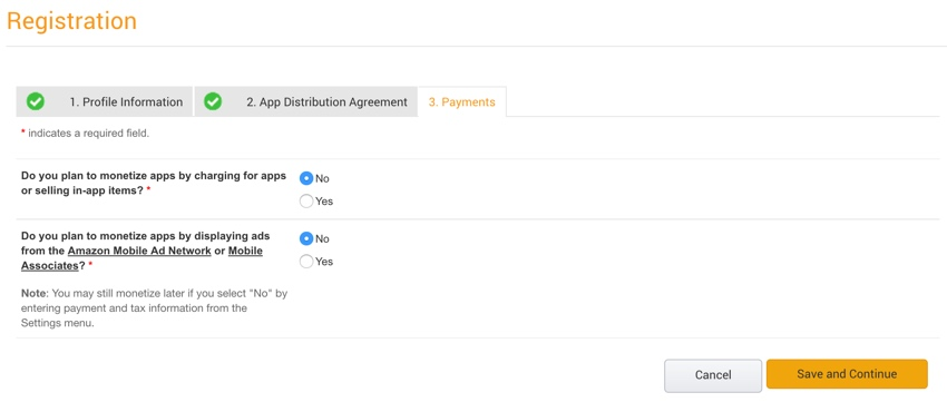 Amazon Appstore - Amazon Developer Console Monetization Settings