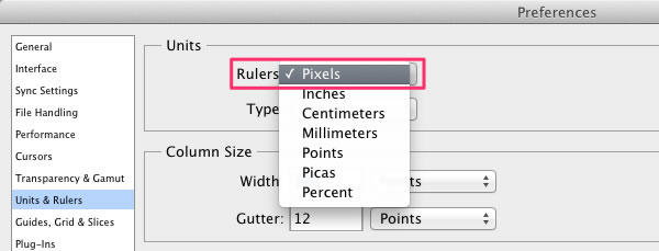 Preferences - Units  Rulers