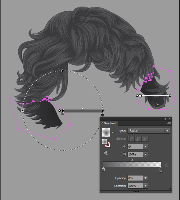 Gradients added to the hair