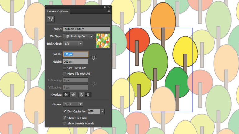 Reduce the pattern size and move your trees around