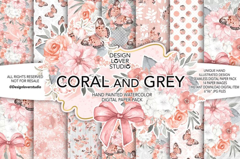 Coral digital paper pack