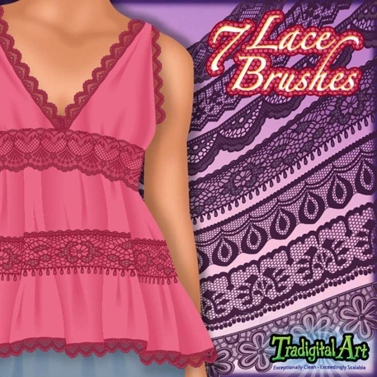7 Lace Adobe Illustrator Brushes