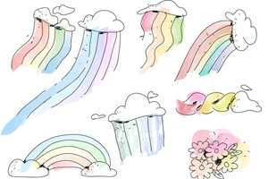 Pastel Color Rainbow Brush Vector Pack