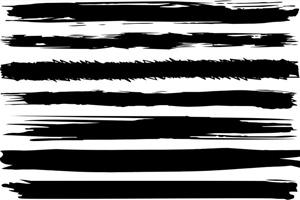 Vector Black Brush Lines Set