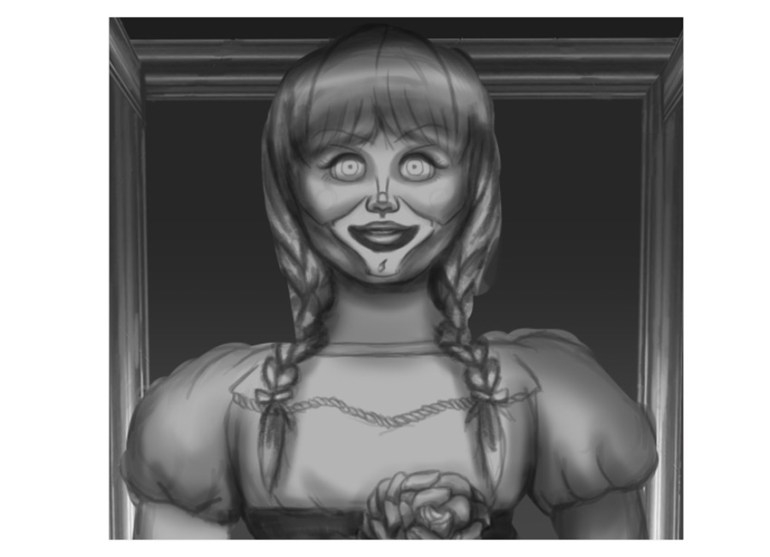Paint the Doll Face in Gray Scale in Photoshop