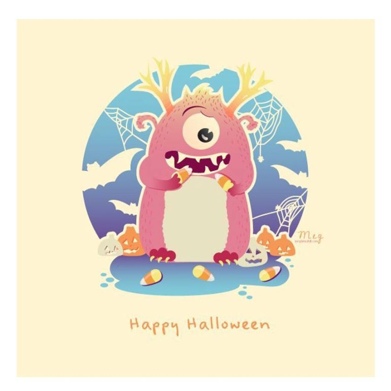 Adobe Illustrator Halloween Monster by Meg Tannahill