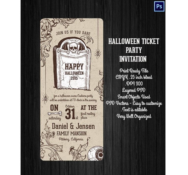Halloween Ticket Party Invitation
