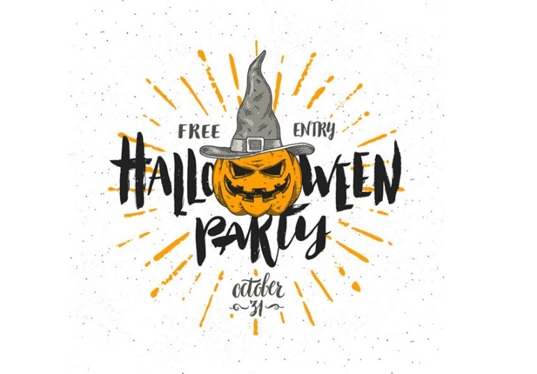 Simple Pumpkin Witch Halloween Invitation