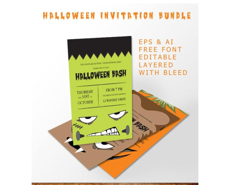 Simple Halloween Bash Invitation Bundle