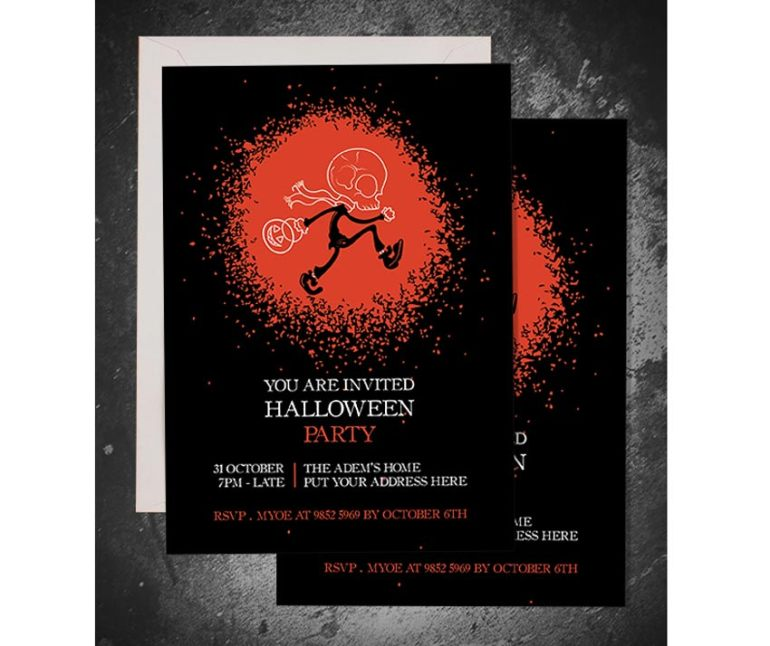 Skull Head Trick or Treat Halloween Invitation
