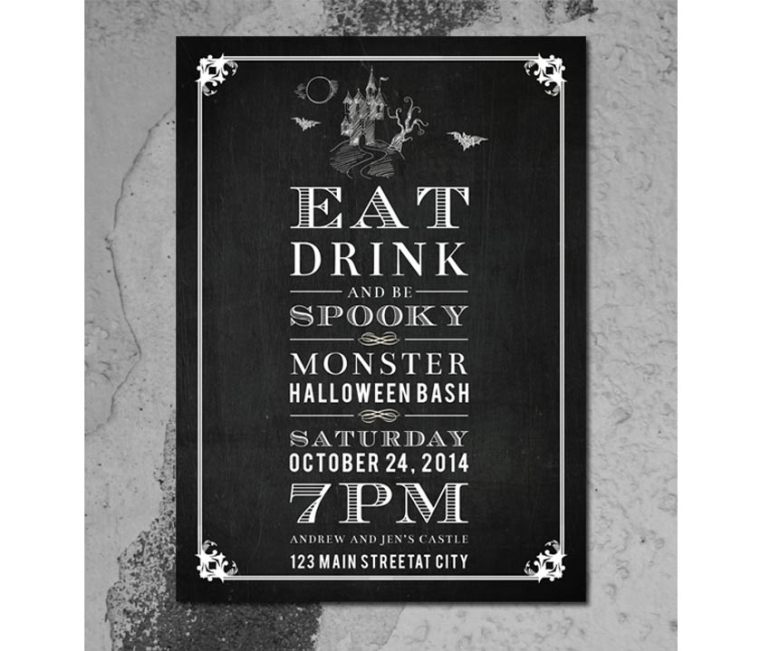 Chalkboard Halloween Invitation Card