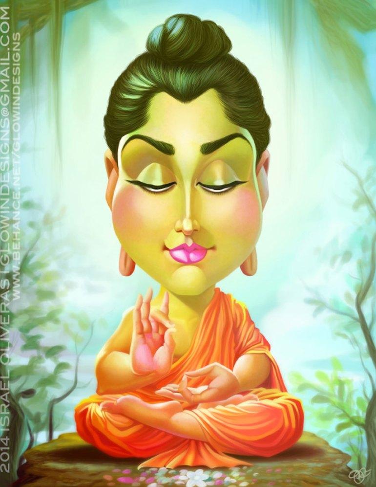 Siddhartha Gautama Caricature Art by Israel Oliveras