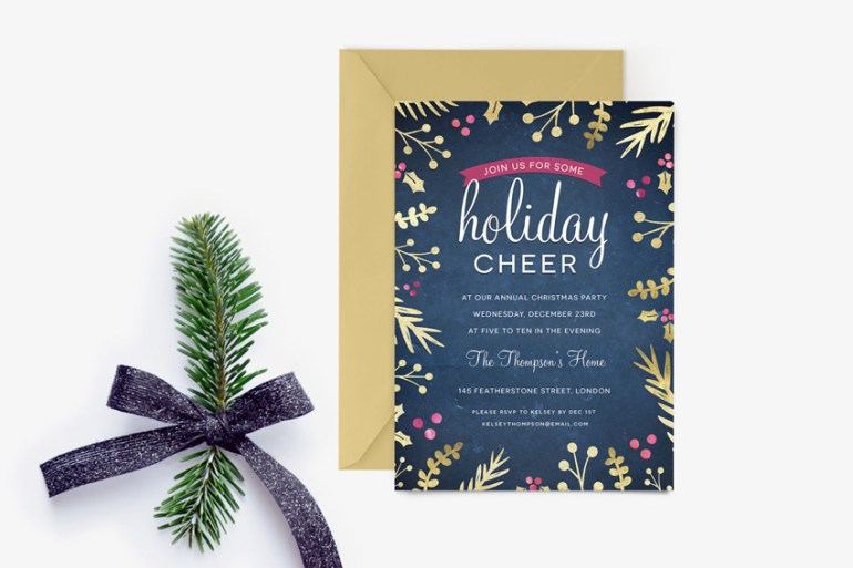 Foil Foliage Christmas Party Invitation