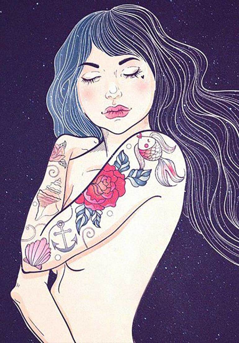 Punk Woman with Tattoo Illustration by Ann Fedenko