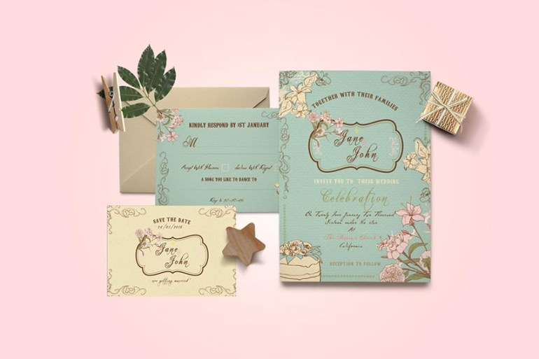 DIY Vintage Wedding Invitation PSD Template