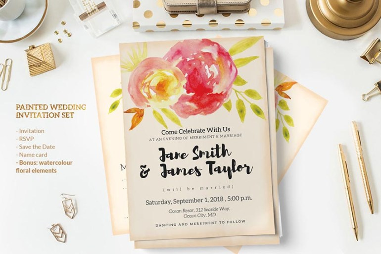 Painted Wedding Invitation Set