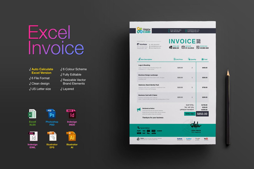 35 Invoice Templates for Corporations   Small Businesses Excel Invoice Template
