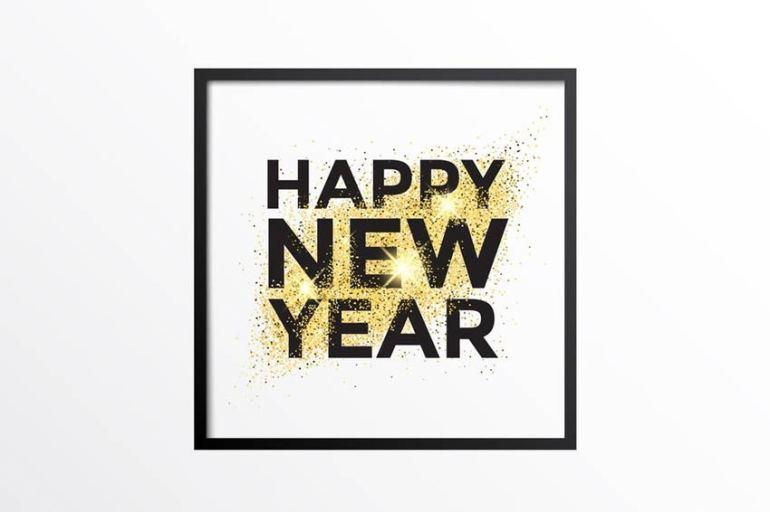 Gold Glitter New Year Card