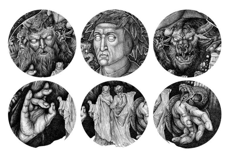 Divine Comedy Dotwork Illustration - Details