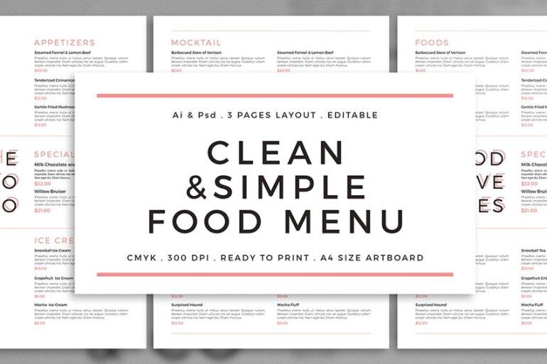 Clean  Simple Menu