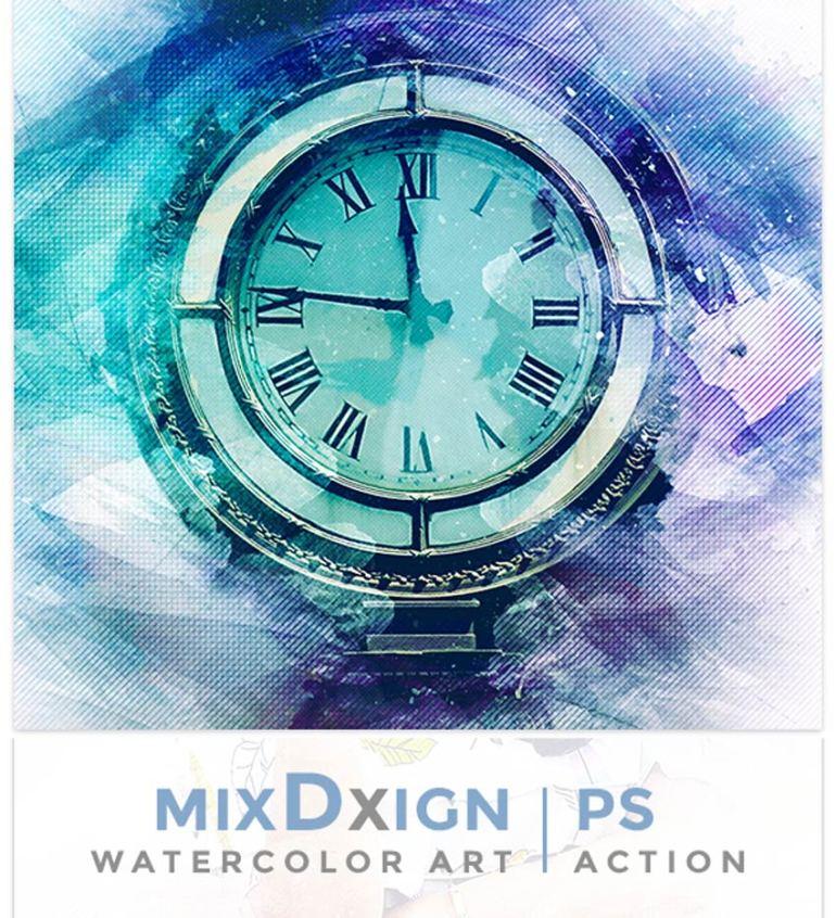 MixDxign Watercolor Art Photoshop Action