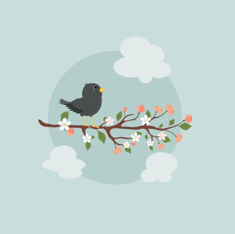 How to Create an Illustration of a Starling on a Branch in Adobe Illustrator