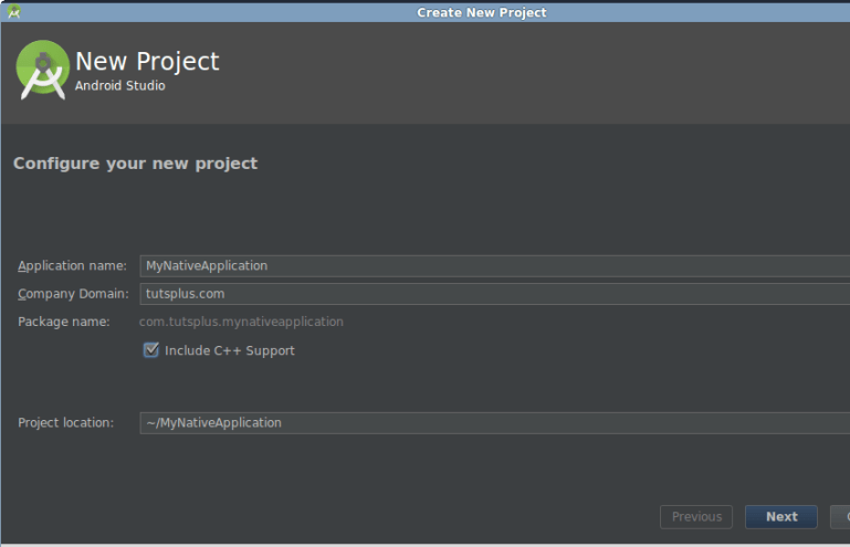 Project configuration screen
